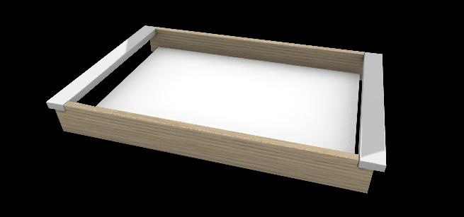 Tablett Aluminium Holz Kombinaton